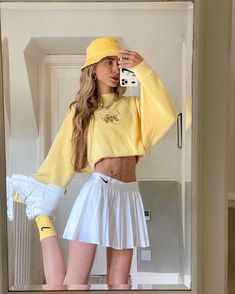 Indie Outfits, Teen Fashion Outfits, Retro Outfits, Girly Outfits, Cute Casual Outfits, Look Fashion, Vintage Outfits, Summer Outfits, Yellow Outfits