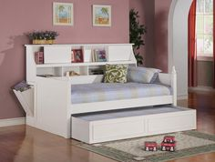 - Description - Dimensions - More Info - Twin Daybed With Option Of Trundle - Built-In Side Storage Compartment - Simple Edge Moulding And Finials - Bookcase Shelves And Compartments For Storage - Lin