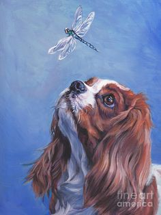 blenheim Cavalier King Charles Spaniel dog art PRINT of LA Shepard painting - Cavalier - Dogs Cavalier King Charles Spaniel, Inspiration Artistique, Cockerspaniel, Spaniel Puppies, Dog Paintings, Dog Portraits, Canvas Art Prints, Illustrations, Fine Art