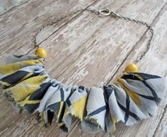 DIY Ruffled Fabric Necklace with Vintage Beads