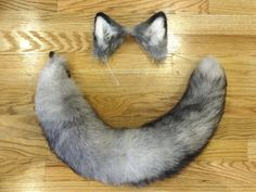 Custom Grey Wolf Ears and XXL Recycled Real Fox Fur Tail