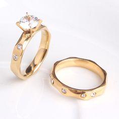 4mm Gold section zircon 316L Stainless Steel wedding rings for men women wholesale