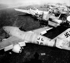 Several abandoned Luftwaffe aircraft awaiting the scrap yard.
