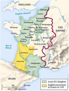 Map of France, 13th Century