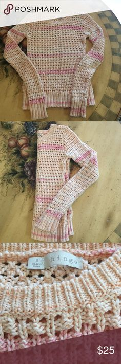 🆕 Listing! Hinge Sweater 100% cotton open knit medium weight sweater. Colors are hard to tell from pictures but is a peach and pink. Very soft and cozy. Hinge Sweaters