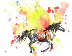 Horse Animal Watercolor Painting Fine Art Print 8 X by idillard, $18.00