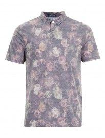 Topman Black Floral Polo Shirt