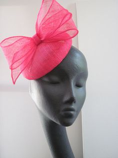 Womens Cocktail Hat Hot Pink Sinamay Wedding by MindYourBonce, £55.00