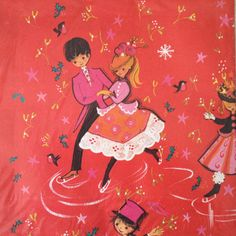 Vintage wrapping paper with dancers