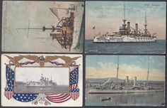 US 1900s NAVY BALANCE OF OLD BATTLESHIPS COLLECTION OF 10 POST CARDS 4 USED ONE