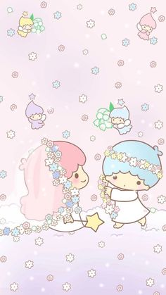 Here's comes the bride! My Melody Wallpaper, Sanrio Wallpaper, Soft Wallpaper, Cute Wallpaper For Phone, Couple Wallpaper, Hello Kitty Wallpaper, Kawaii Wallpaper, Pattern Wallpaper, Iphone Wallpaper
