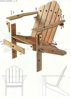 #1900 Classic Adirondack Chair Plans - Outdoor Furniture Plans