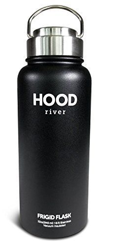 Hood River Frigid Flask Double Wall Insulated Stainless Steel 32 Ounce Wide Mouth With Metal Flip Up Handle Cap ** Click on the image for additional details. Note:It is Affiliate Link to Amazon.