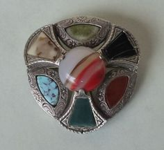 Miracle Pewter Iona Green Stone Cabochon Celtic Cross Round Brooch vF6gx6j