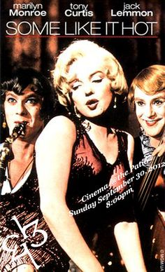 """Our next Cinema Night @ The Patio, Sept. 30th, 8pm. """"Some Like it Hot"""" We're selling tickets through Eventbrite!"""