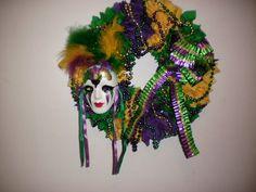 Decorative Mardi Gras Wreath | suppplementalsue - Housewares on ArtFire