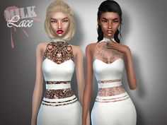 The Sims Resource: Lace Dress by M.I.L.K • Sims 4 Downloads