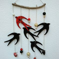 Rustic Handmade Wooden Swallows Garland Decorative by LIMASCRAFTS