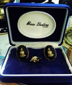 """""""Maas Brothers cuff links and tie tack set....seen at """"D&D Antiques and more"""".."""