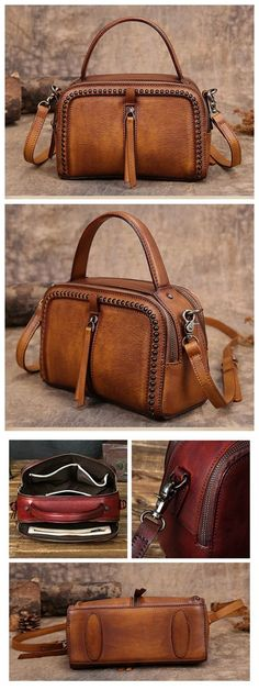 Handmade leather shoulder satchel vintage messenger bag briefcase for ladies GI