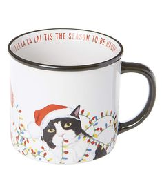 Sip your way into the spirit of the season with this ceramic mug that features a festive graphic. Full graphic text: Tis the season to be naughty Fa la la la la (appears along inner rim of W x DCeramicDishwasher-safeImported Cat Lover Gifts, Cat Gifts, Cat Lovers, Christmas Mugs, Christmas Holidays, Holiday Drinkware, Cat Mug, Cat Design, Inspirational Gifts