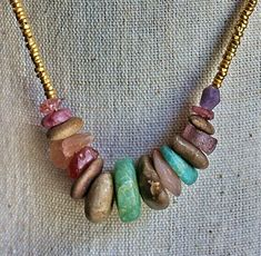 Ancient Gemstone and Gold Necklace by stonecraft on Etsy