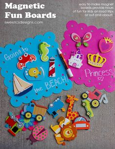 Magnetic Fun Boards at sweetcsdesigns are an awesome boredom buster for long road trips, eating out, or any other place you need a good distraction for your little one!