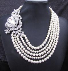 Bridal Pearl Necklace, Ivory  Swarovski Pearls, Statement Bridal Necklace, Rhinestone Bridal Necklace, Dramatic Necklace, MIRANDA. via Etsy.