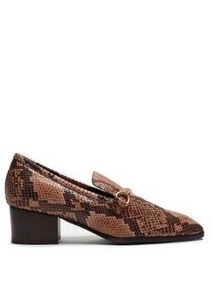 Python-effect faux-leather block-heel loafers | Stella McCartney | MATCHESFASHION.COM