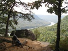 A view of the Tennessee River from the mountain - Chattanooga TN