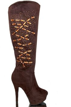 Boots Knee High chunky Platform very High Heel stiletto Rhinestone Zip Brown 3 4