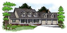 House Plan 97357 | Cape Cod Country Plan with 3730 Sq. Ft., 4 Bedrooms, 4 Bathrooms, 3 Car Garage