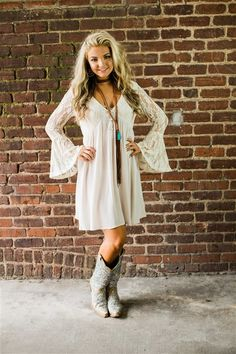 Cowgirl Outfits For Women Dresses, Western Dresses For Women, Dresses With Cowboy Boots, Western Outfits, Cute Outfits, Clothes For Women, Country Style Dresses, Country Western Dresses, Country Girls Outfits