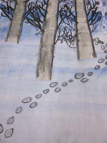 Kaarisillan kuvataide: Jänis loikki pellon poikki Middle School Art, School Fun, Art School, Winter Art Projects, School Art Projects, January Art, 6th Grade Art, Nativity Crafts, Preschool Art