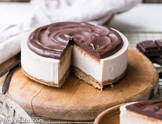 No-Bake Vanilla Bean Cheesecake with Chocolate Ganache