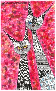 "Whimsical Zentangle® Inspired ""A Couple of Cats"" finished 8-11-14. A 12-pack of note cards are available for $23.00 with FREE shipping and handling. Prints also available plus much more."