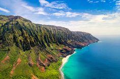 Aerial landscape view of spectacular Na Pali coast, Kauai, Hawaii, USA