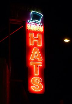 Baron Hats ~ Retron Neon Sign with a Top Hat.