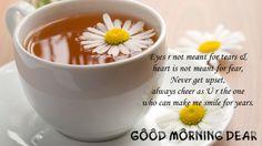 Good Morning Dear With a Cup of Tea HD Desktop Wallpaper