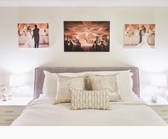 wedding pictures maybe not above the bed, but definitely portraits in the master suite