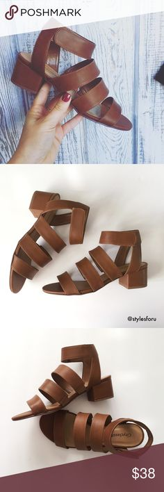 """NWT. Camel colored strappy Velcro sandal NWT. Camel colored strappy Velcro sandal                -1.75"""" heel                                                                              -faux leather                                                                        -lightly padded footbed                                                                        -true to size                                                                        -comes in the original box…"""