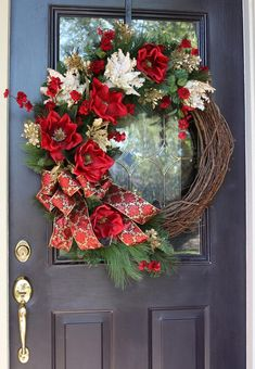 Christmas Wreath for Front Door, Ready to ship, Elegant Red & Gold Magnolia Christmas door wreath, Holiday decorations, Classic Christmas DIY Spring Tulip Wreath for the front door to share this item from my shop: Fall Wreaths for front door. Large Christmas Wreath, Christmas Wreaths For Front Door, Christmas Greenery, Gold Christmas, Holiday Wreaths, Whimsical Christmas, Thanksgiving Decorations, Christmas Decorations, Christmas Ideas