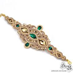 Beige Cream Dangle Soutache Earrings, Long Champagne Earrings, Emerald Earrings…