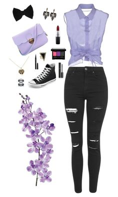 """Lavender Love"" by mirberry-s on Polyvore featuring Alberta Ferretti, Topshop, Laura Cole, Converse, claire's, Lulu Frost, Marc Jacobs, Chanel, NYX and Eva Fehren"