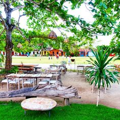 Nature and colours surround UXUA Casa Hotel & Spa's Quadrado restaurant. Trancoso, Bahia, Brasil.