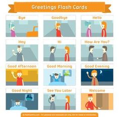 Free printable greetings flash cards. Download them in PDF format at http://flashcardfox.com/download/greetings-flash-cards/