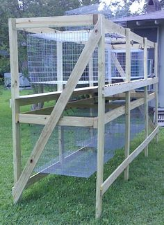 Hanging cages. Really like these, they're very similar to the frame we built into our outside barn.