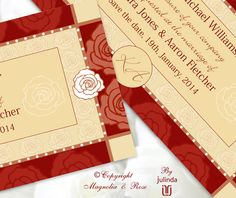 From the 'Lush Red' couture collection. Wedding Invitations, RSVP, Map/Directions, Menus, Table and Favour/Decor Swing Tags.  Order/Buy online.  Feel free to contact for any questions.  | © Julinda at Magnolia & Rose Weddings