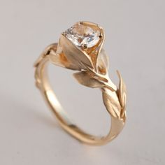 Leaves Engagement Ring No. 7  14K Gold and Diamond door doronmerav, $5300.00