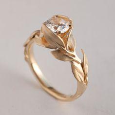 Leaves Engagement Ring No. 7  14K Gold and Diamond door doronmerav, $5300.00